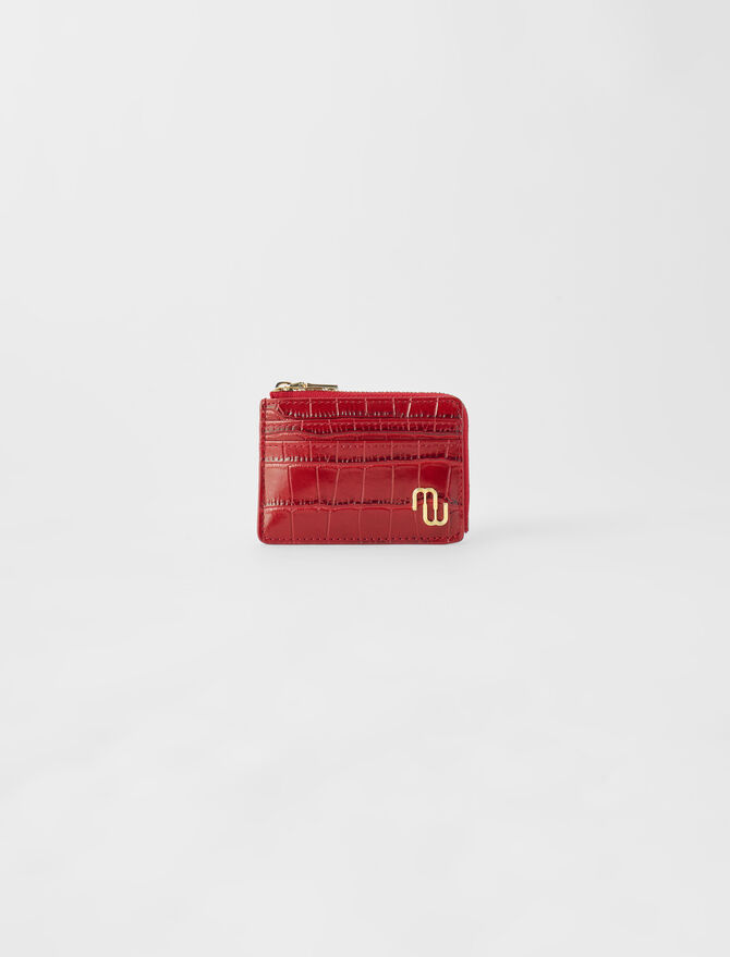 Embossed leather zip-up card holder - All the collection - MAJE
