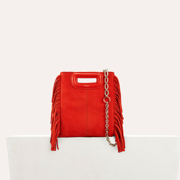 Fringed suede M minibag : M Mini color Red