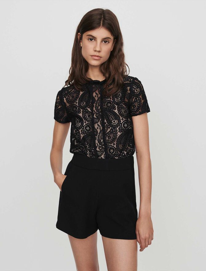 Guipure and crepe playsuit - SoldesBE_ALL - MAJE