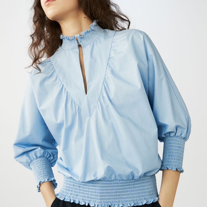 Smocked cotton poplin blouse : Tops color Blue