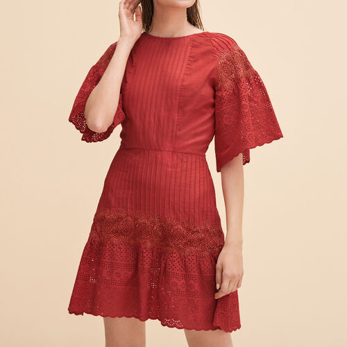 Embroidered dress with guipure : See all color Red