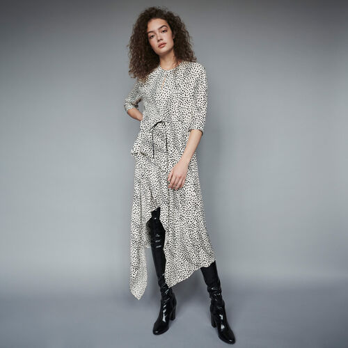 Jacquard-printed asymmetrical dress : Dresses color White