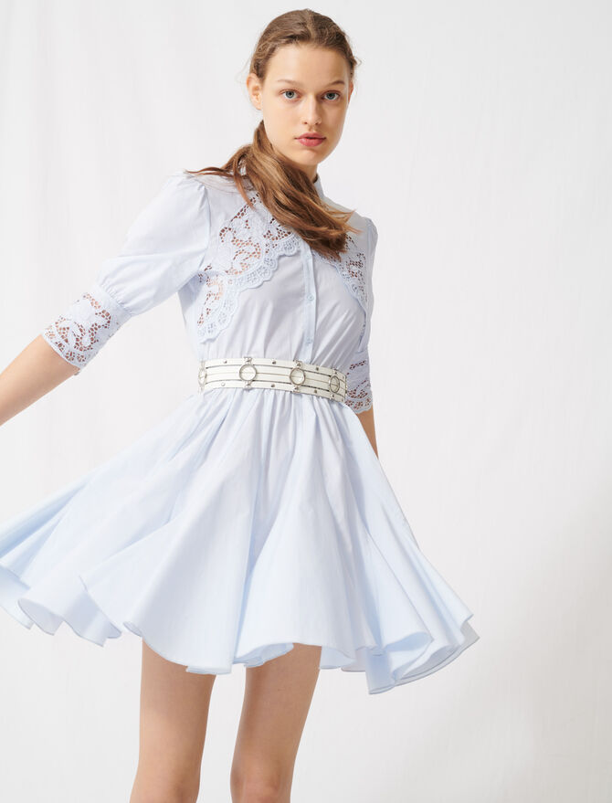 Skater dress with tie belt - Dresses - MAJE