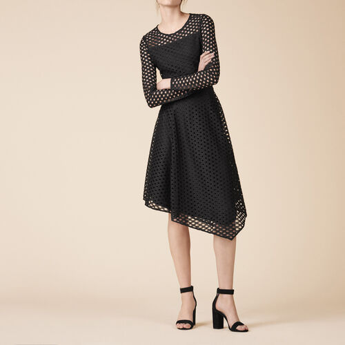 Long asymmetrical lace dress : Dresses color Black 210