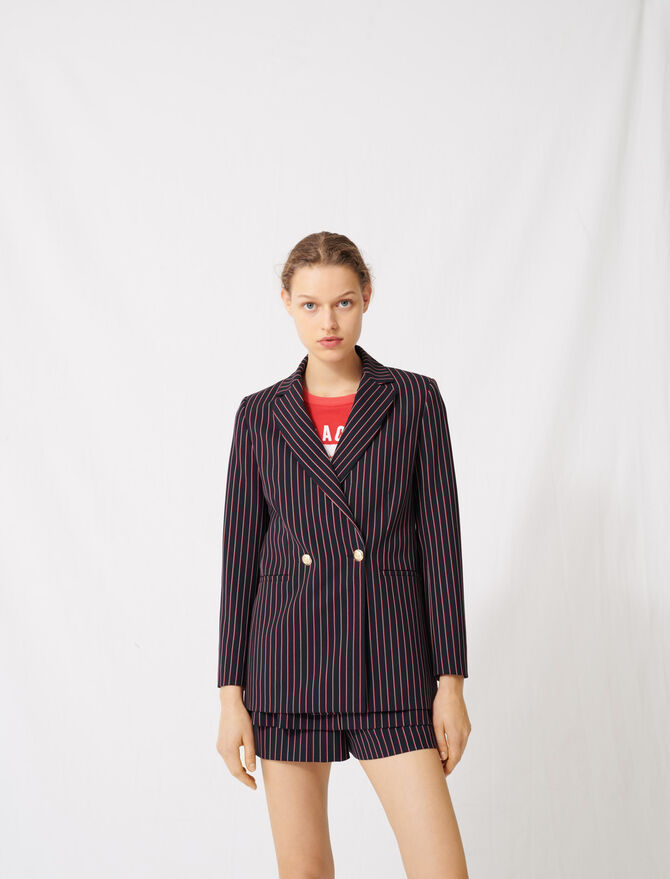 Striped double-breasted jacket -  - MAJE