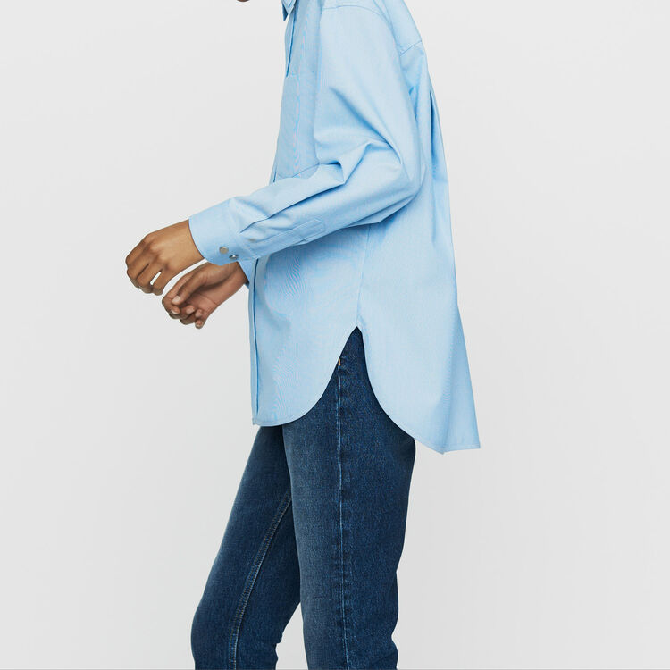Oversize blouse with double-collar shirt : Shirts color Blue Sky