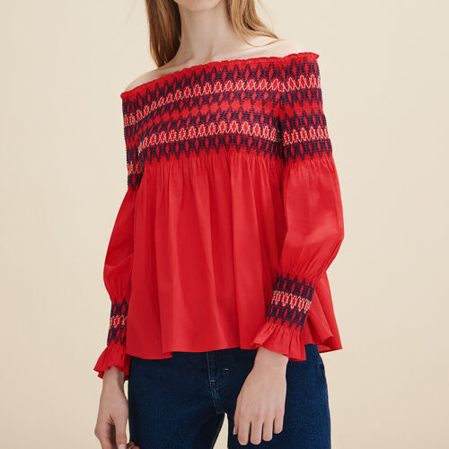 Blouse with smocking : Tops color Red