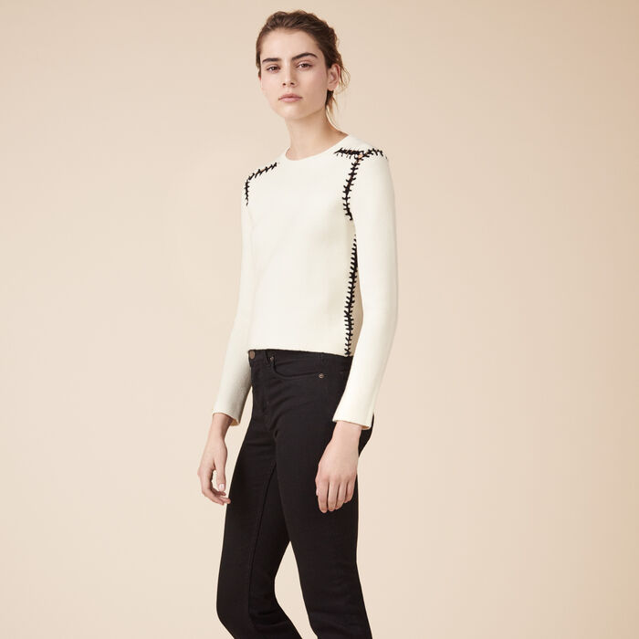 Wool blend jumper with openwork details - 30% Rabatt - MAJE