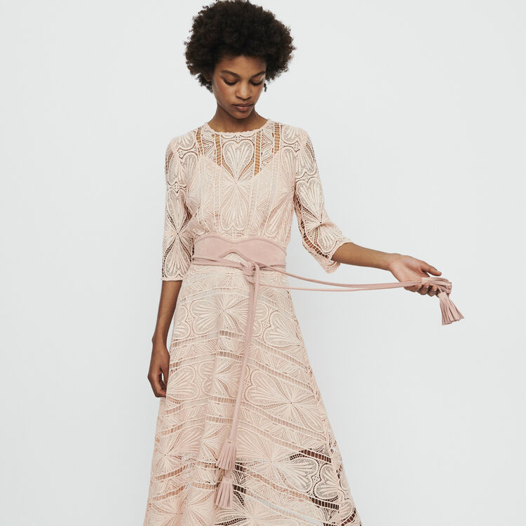 Long dress in guipure : Dresses color Pink