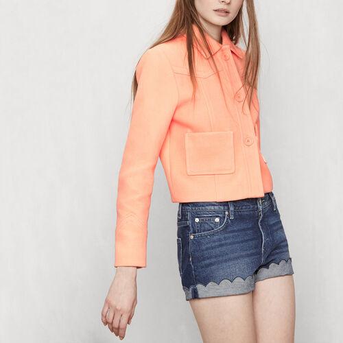 Cropped jacket with yokes : Coats & Jackets color Mandarine
