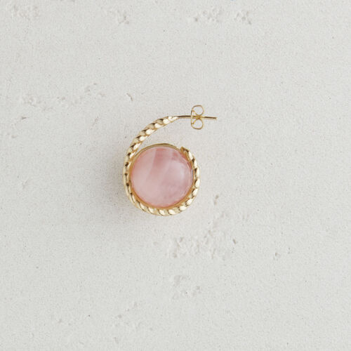 Left earring with natural stone : Jewelry color Off White