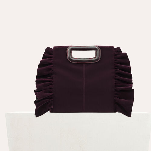 Frilled velvet M bag : M bags color BORDEAUX