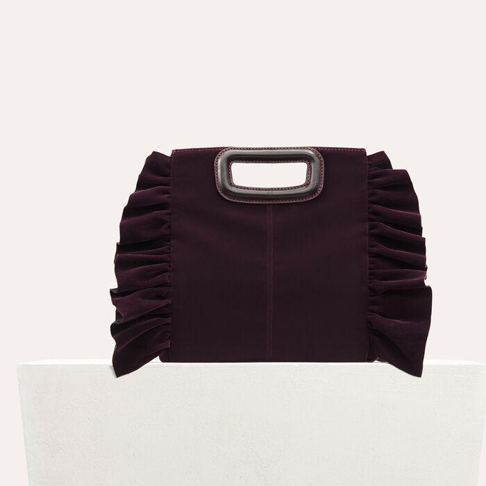 Frilled velvet M bag : Bags color BORDEAUX