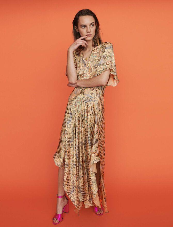Burn-out-printed scarf smock dress -  - MAJE