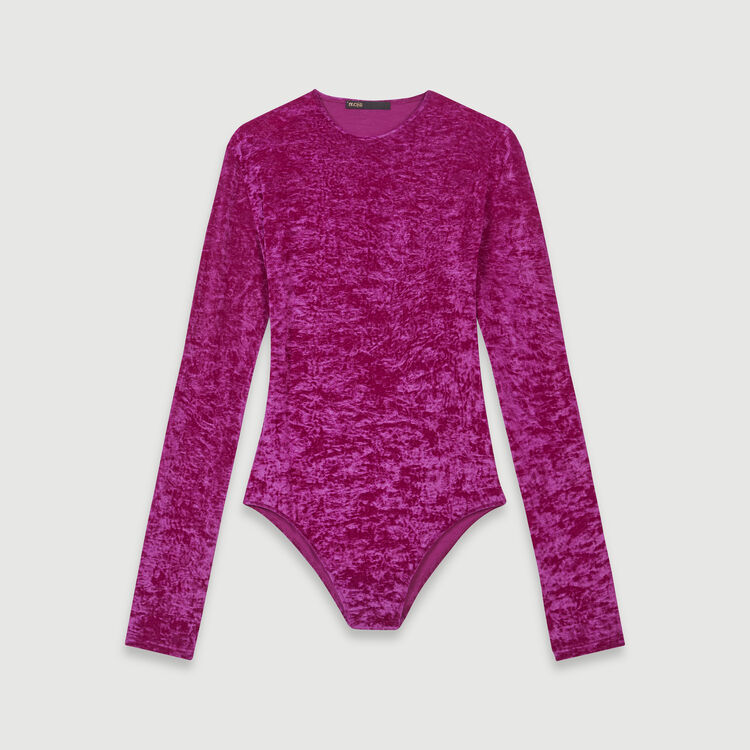 Crushed velvet bodysuit : T-Shirts color Pink