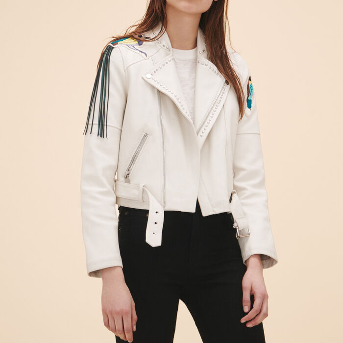Leather jacket with badges and studs - -30% - MAJE