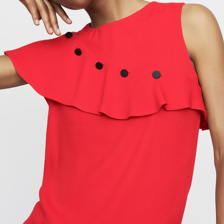 Sleeveless top with ruffle : Tops color White