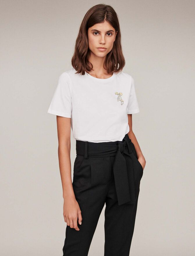 Embroidery and strass cotton t-shirt -  - MAJE