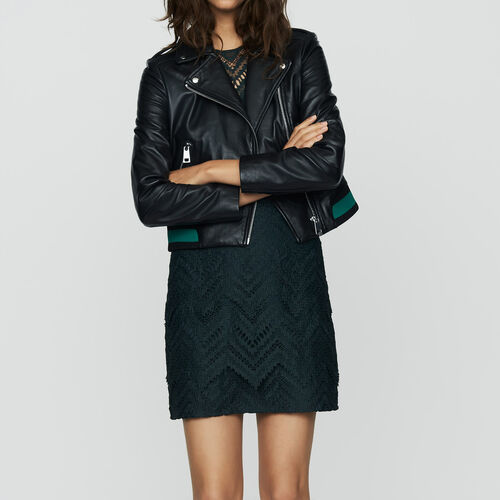 Leather jacket with ribbed detail : Ready to wear color BLACK
