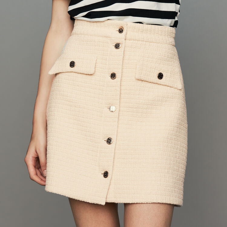 Tweed trapeze skirt : Ready to wear color Ecru