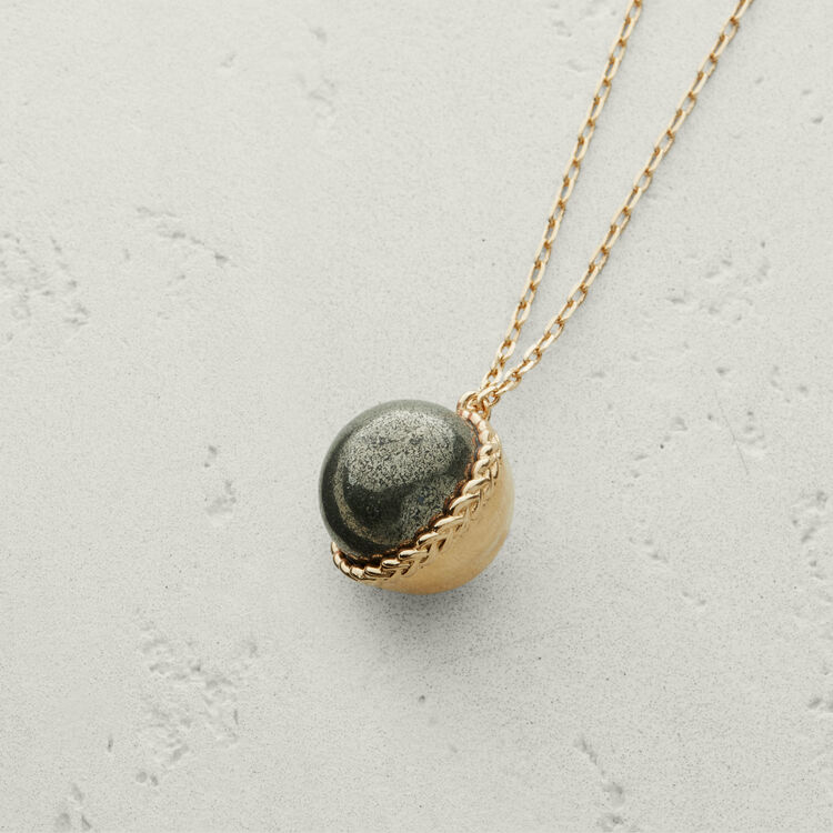 Necklace with natural stone : Jewelry color Old Silver