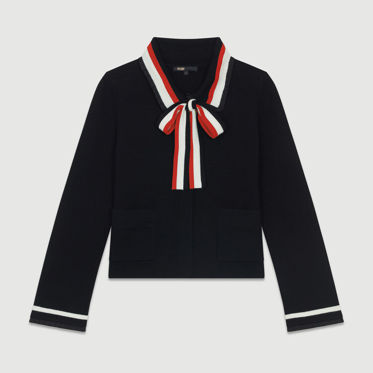 Short cardigan with contrasting stripes : Knitwear color Black 210