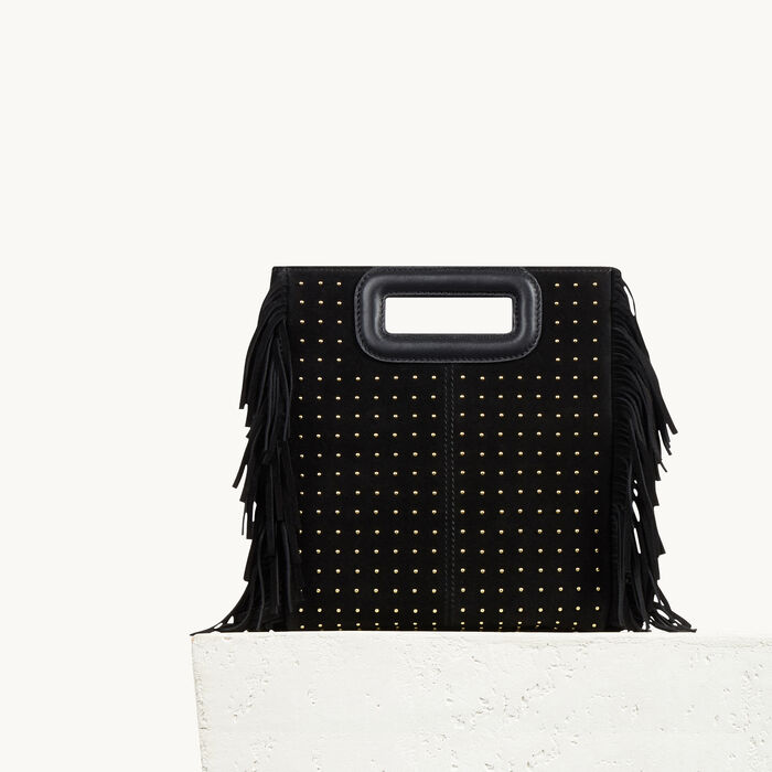 Studded leather bag with fringing - The M bag - MAJE