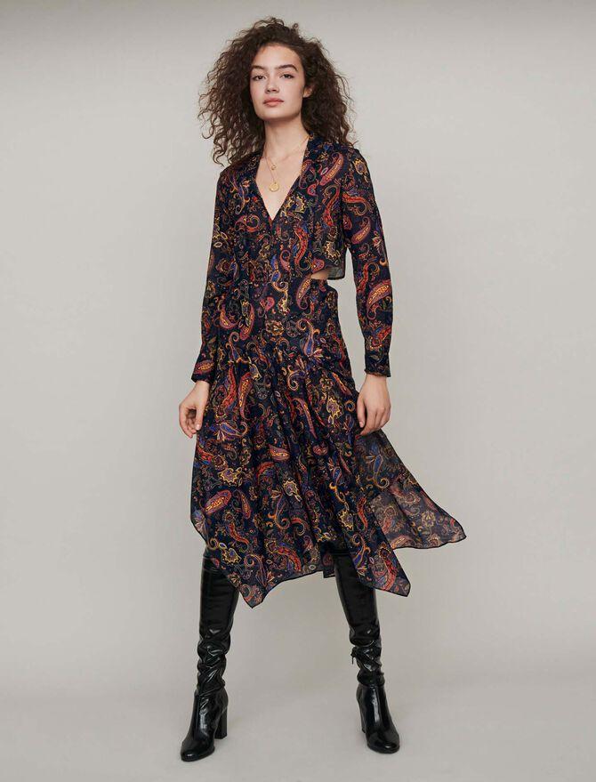 Printed-cotton scarf dress - cadeaux_tout_voir - MAJE