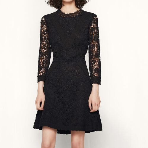 Short lace guipure dress : Dresses color Black 210