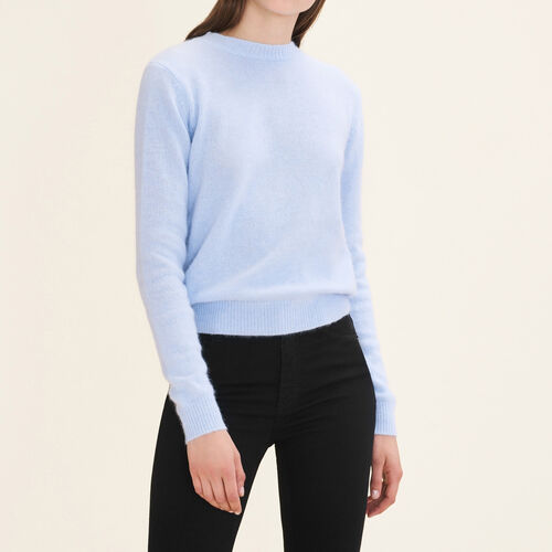 Backless angora jumper : Sweaters & Cardigans color Blue Sky