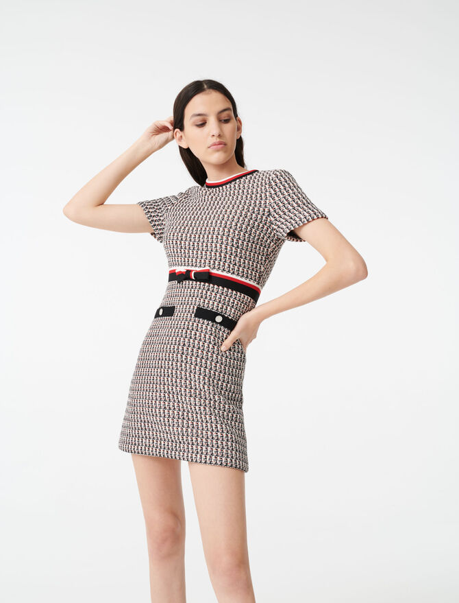 Lurex tweed-style dress with bands - Dresses - MAJE