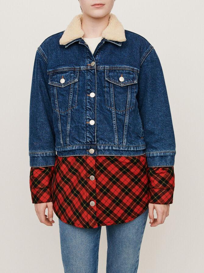 Plaid trompe-l'oeil jean jacket - Coats & Jackets - MAJE