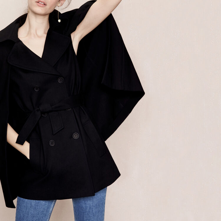 Trench coat-style cape : See all color Black 210