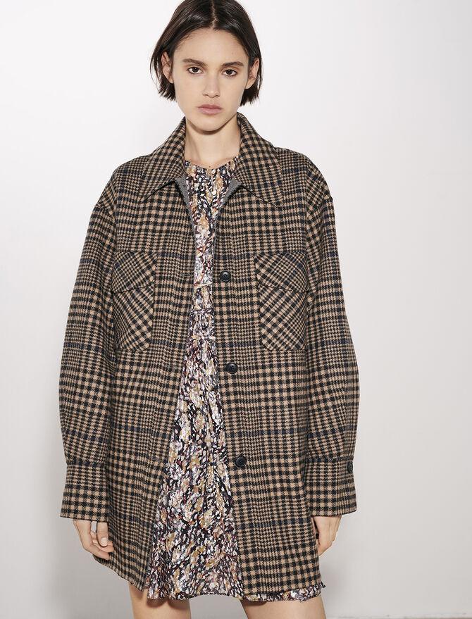 Belted check print coat - Coats & Jackets - MAJE