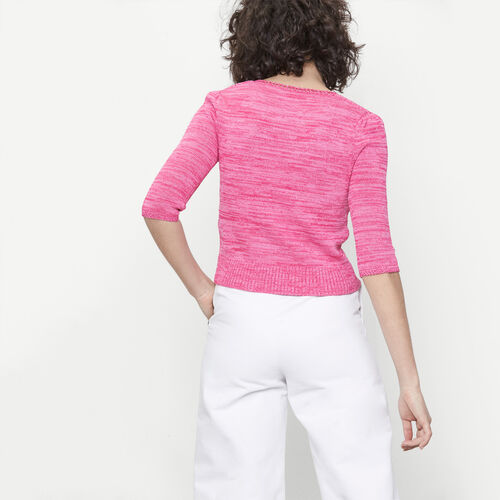 Short jumper with decorative stitch knit : Sweaters & Cardigans color Fuschia