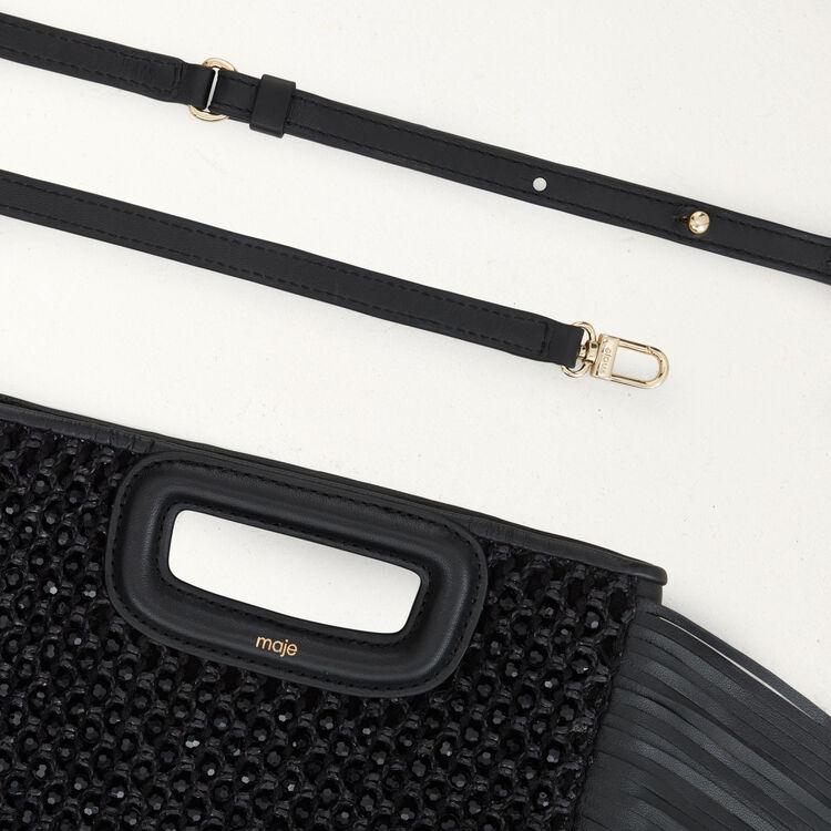 M bag in raffia with pearls : M bag color Black 210