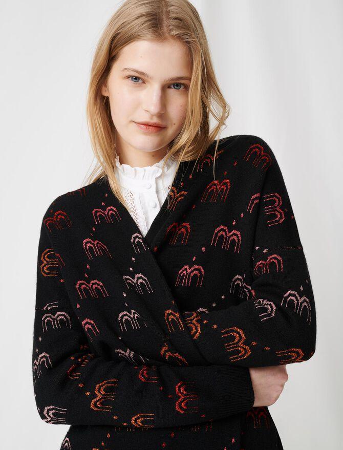 Monogrammed jacquard cardigan - Pullovers & Cardigans - MAJE