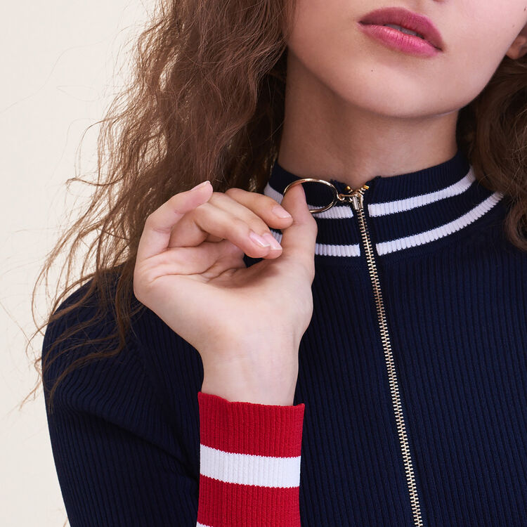 Fine knit zipped jumper : Sweaters & Cardigans color Navy