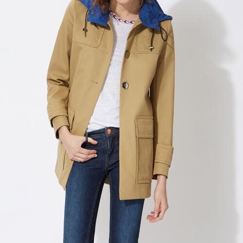 Lightweight cotton canvas parka : Coats color Beige