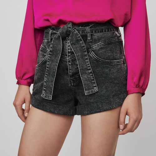 Belted faded shorts : Winter collection color Anthracite