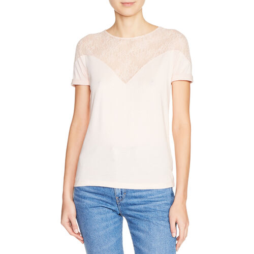 Dual-material top with lace - New in - MAJE