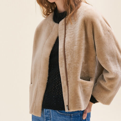 Reversible sheepskin jacket : Discount color Beige