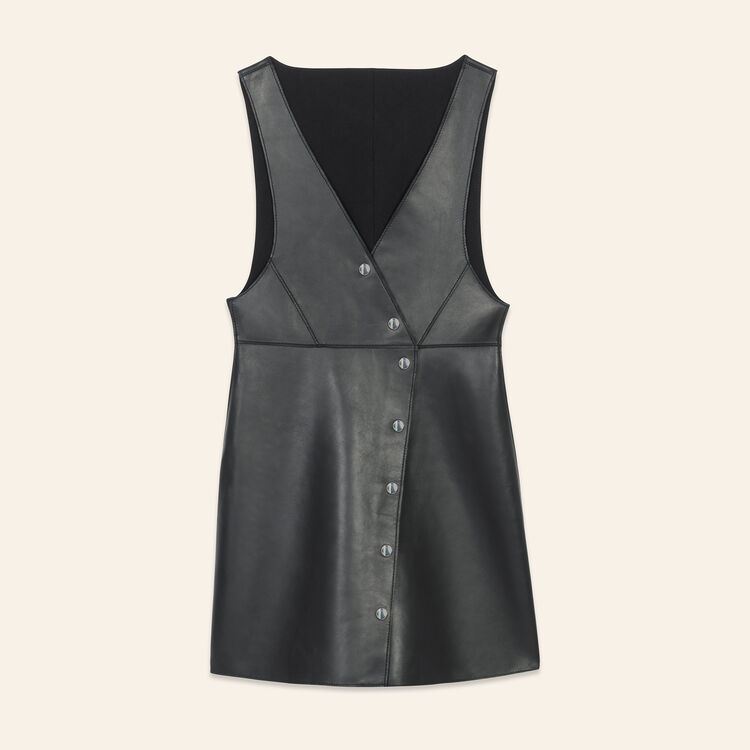 Leather sleeveless dress : Dresses color Black 210