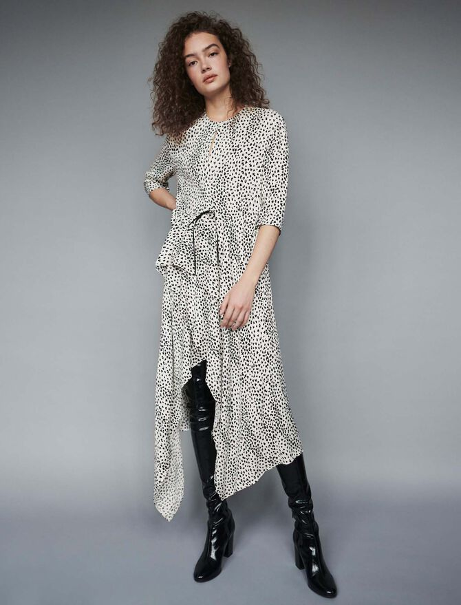 Jacquard-printed asymmetrical dress - -30% - MAJE