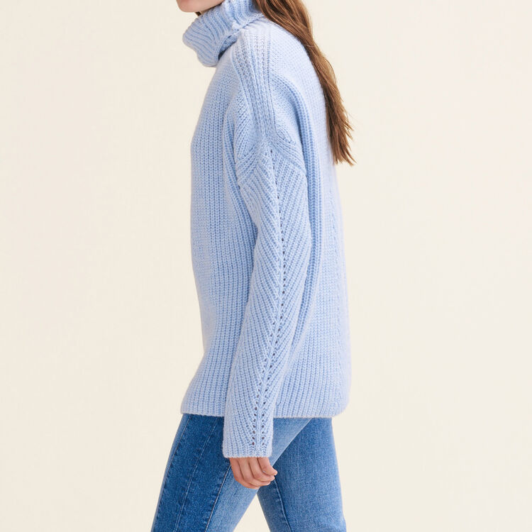 Oversized roll-neck jumper : Sweaters & Cardigans color Blue Sky