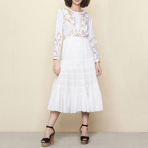 Long cotton canvas skirt : Skirts & Shorts color White