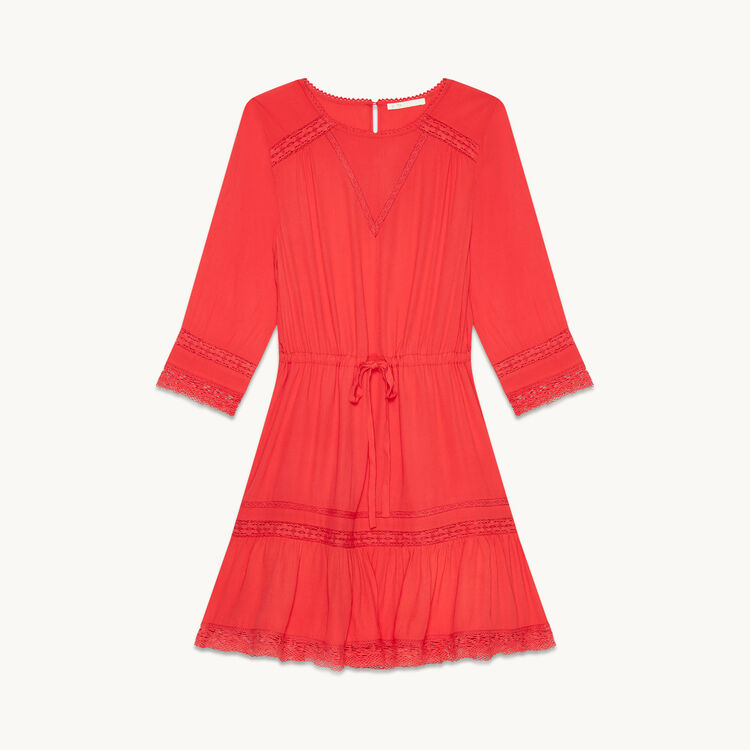 Floaty dress with lace : Dresses color Raspberry