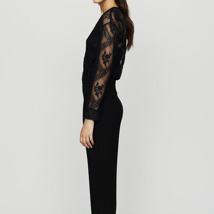 Jumpsuit in crepe and lace : Jumpsuits color Black 210