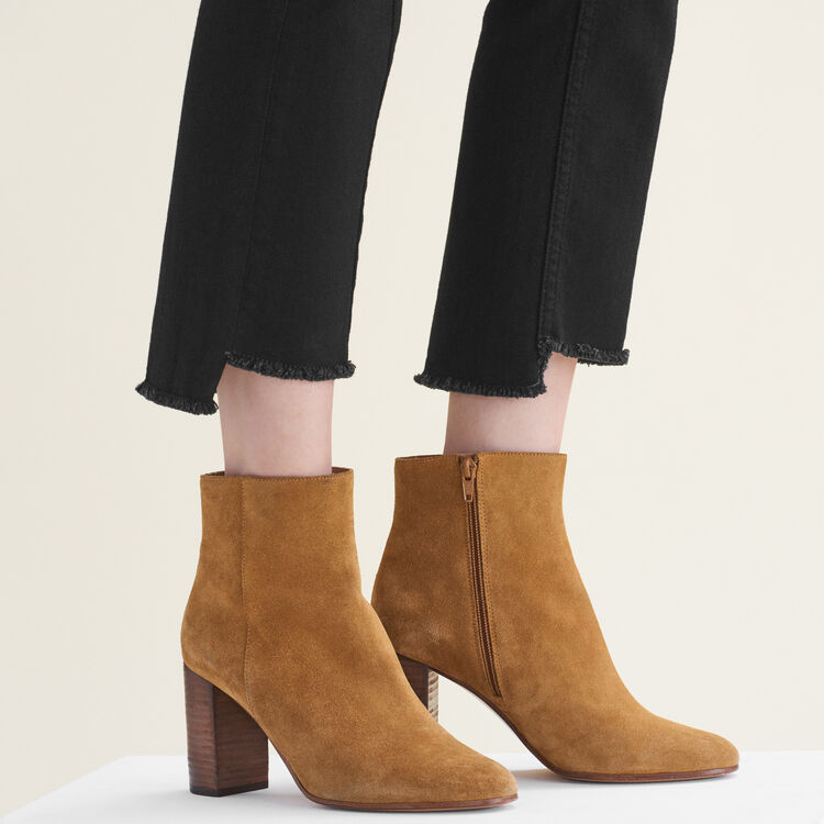 Suede leather ankle boots : Accessoires color Camel