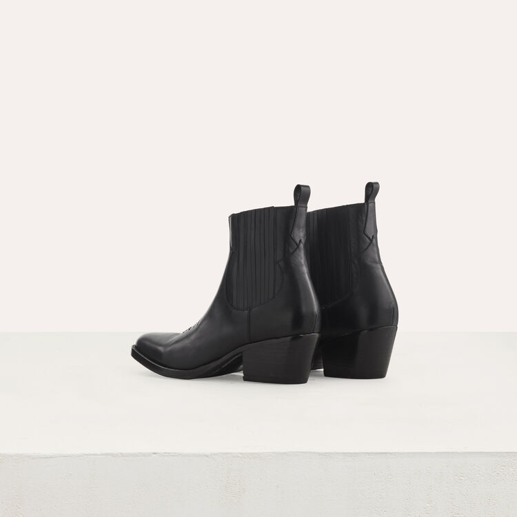 Leather cowboy boots : Booties & Boots color Black 210